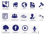 Icons utilized throughout the website